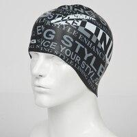 Free size Elastic Waterproof PU Fabric Swim Cap Ears Long Hair Protection Sports Swim Pool Hat Swim Capfor Men & Women LN