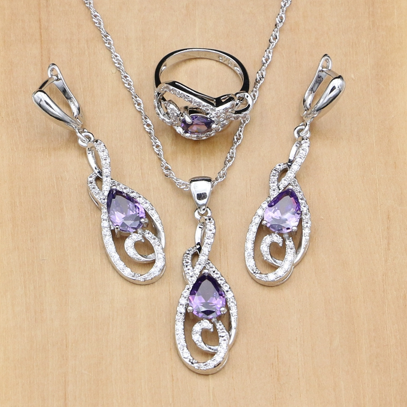 925-Silver Jewelry-Sets Earrings Necklace Decoration Hyperbole-Sterling-Silver Cubic-Zirconia-Ethnic