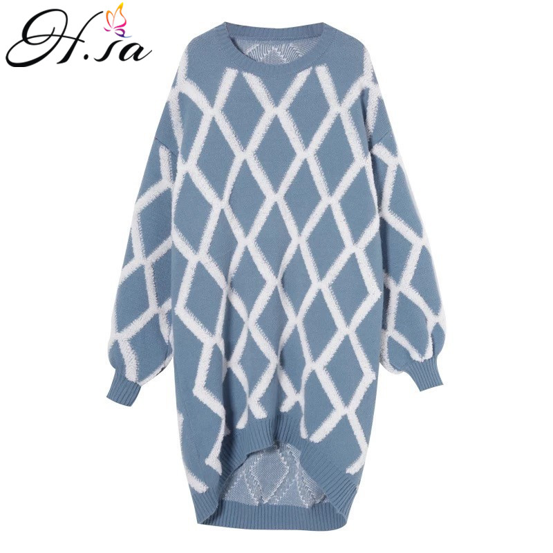 1d2f0742add H.SA Women Long Sweater Dresses 2018 Winter Pull Sweaters Argyle Below Knee  Length Long Knit Jumpers Out Top manteau femme hiver-in Pullovers from  Women s ...
