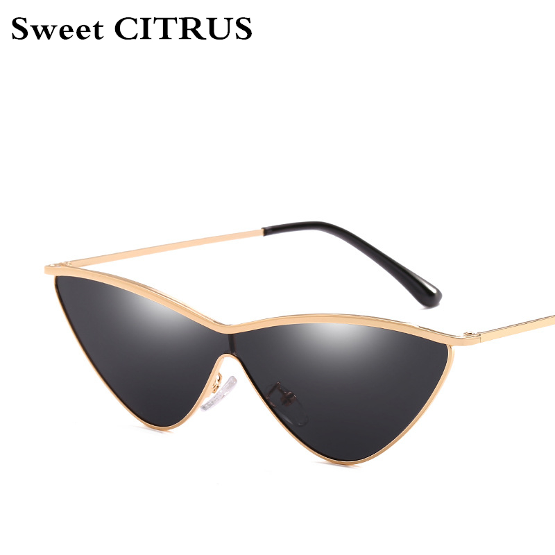 Sweet CITRUS Cute Sexy Ladies Cat Eye Sunglasses Women Metal Frame 2018 Triangle Vintage Gradient Sun Glasses For Female UV400