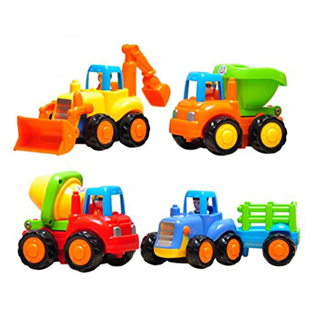 Push And Go Car Toys Set Of 4 Cartoon Friction Powered
