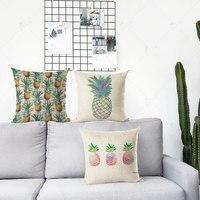 ZLJQ Cute Pineapple Throw Pillow Case Yellow Pink Cushion Cover Cotton Linen Summer Hawaii Beach Party