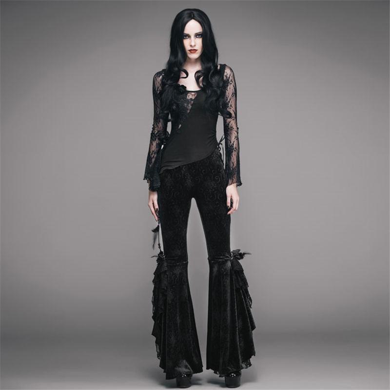 Diablo Skinny Pantalones Oscuro Nobleza Mujeres Gótico Rosa Black Decorado 2017 Largos Encaje Steampunk Velour Con Moda Bordado xYwdq0Rf4