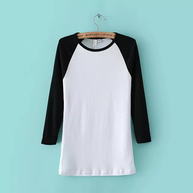 European and Amercian Brand Stars New Solid Color Cropped Sleeve Baseball T Shirts Womens Knit Tees Girls Tops Free Shipping