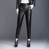 pu pant women pu pants 2018 autumn winter leather women's high waist leather leggings female Harlan feet nine points casual 9011