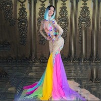 Sexy Colorful Mesh Tail Dress Sexy Stage Wear Big Stretch One piece Long Dress Singer Evening Performance Dance Dress DS clothes