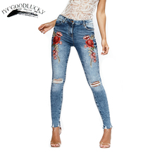 Купить с кэшбэком Rose Embroidery Jeans Female 2017 Torn Black Denim Jeans Woman New Arrival Ripped Jeans For Women Pants Jeans With Embroidery