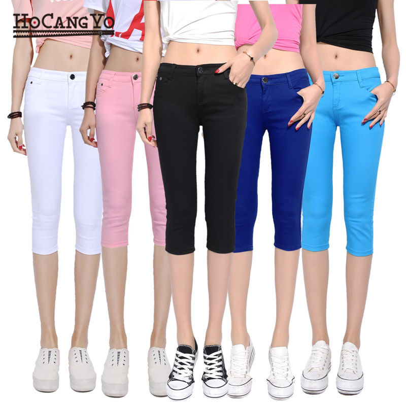 HCYO Women Summer Pants Stretch Cropped Hot Pants Women Mid Waist Sexy Pencil Pants Trousers Casual Thin Skinny Pants Leggings