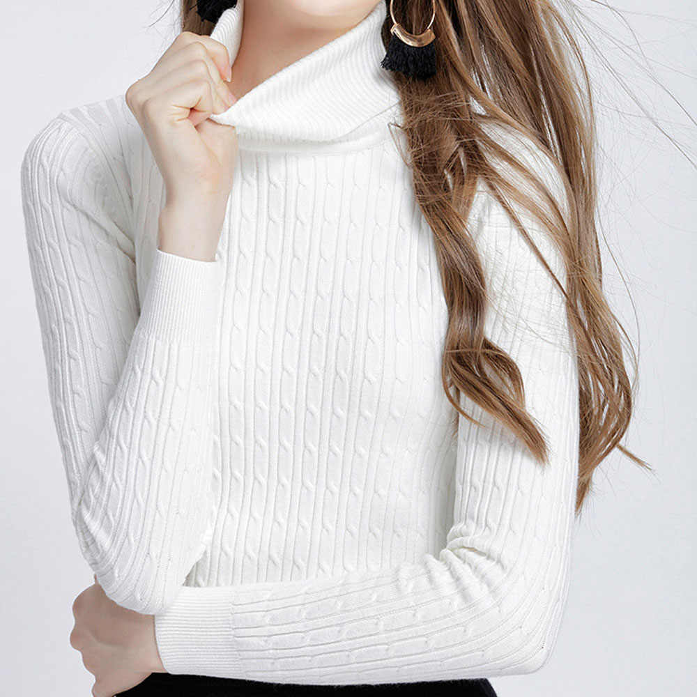 c8935078499ba 2019 Winter Warm Women Sweaters and Pullovers high Elastic Thick Turtleneck  Sweater Autumn Knitted Twisted Sweater