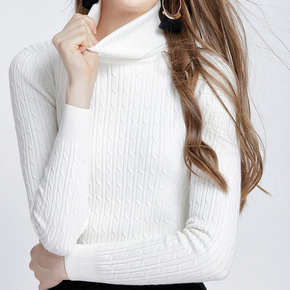 Suéteres y jerseys cálidos de invierno 2018 para mujer jersey de cuello alto elástico grueso de otoño suéter trenzado de punto para mujer