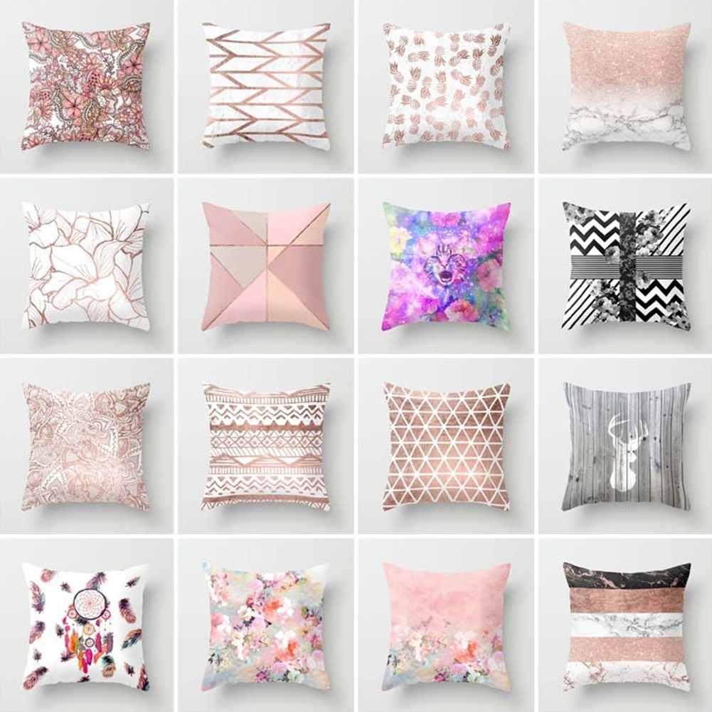 45*45cm Square Decorative Throw Pillow Case Geometric Striped Print Flower Pillowcase For Home