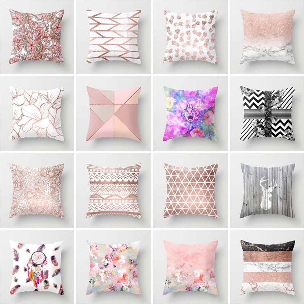 45*45cm Square Decorative Throw Pillow Case Geometric Striped Print Flower Pillowcase For Home