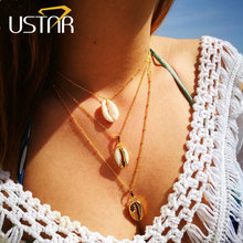USTAR Multilayer Shell Pendants Necklaces for women Gold color chain Choker Necklaces Fashion party jewelry Bijoux imitation pearls choker necklace female cross chain beads pendant necklaces for women gold color 2019 fashion coin jewelry