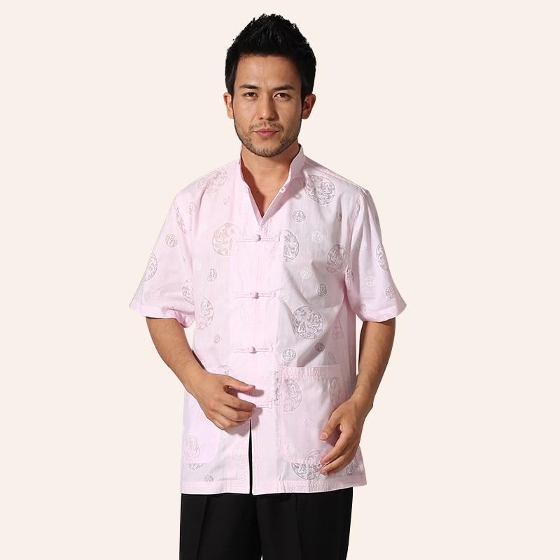 Pink Chinese Men Cotton Printing Shirt Kung Fu Tai Chi Shirt Casual Short Sleeve Summer Tops M L XL XXL XXXL MN065