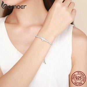 Image 5 - Bamoer Echt 925 Sterling Zilveren Shining Clover Flower Chain Armbanden Voor Vrouwen Clear Cz Mode Zilveren Sieraden BSB007