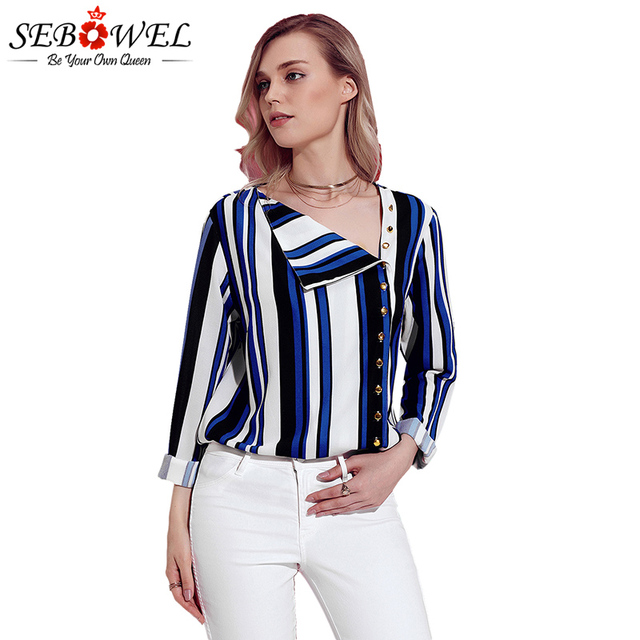 7538824e718 SEBOWEL Blue White Black Striped Women Shirts Plus Size Button Down Tops  and Blouses 2018 Summer