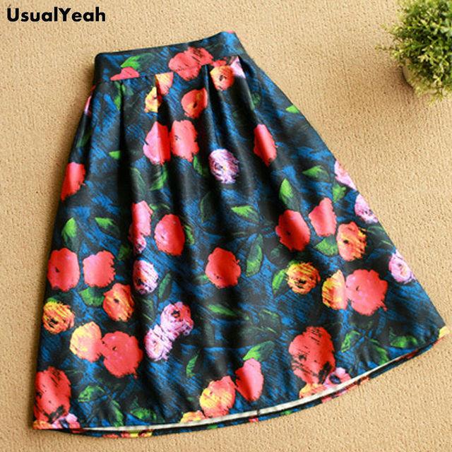2017 A Line Flare Pleated Fashion Street Style Women Skirts Flower Dots Pattern Casual Vintage Midi Skirt Elastic Waist