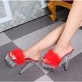 Verano Zapatos Sexy Mujer Moda Sólido Plumas Bombas de Cristal Transparente sandalias de Gran Tamaño 15 CM Tacones Altos 5 CM Plataforma diapositivas
