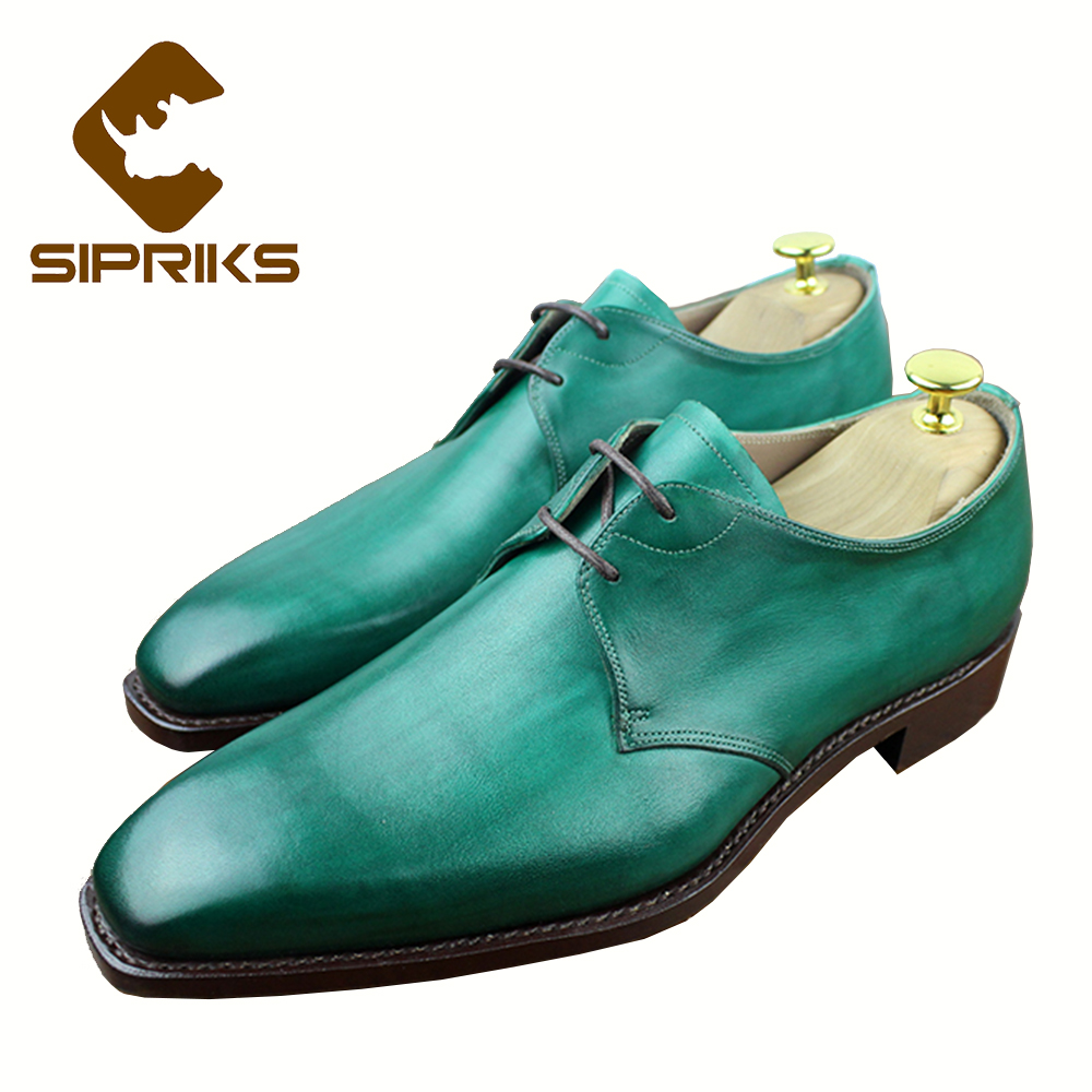 Sipriks Mens Green Dress Shoes Italian Bespoke Goodyear Welted Shoes Men Elegant Black Derby Shoes Leather Sole Suits Men Shoes luxury bespoke goodyear welted shoes elegant mens dress shoes italian unique boss wingtips shoes italian grooms wedding shoes