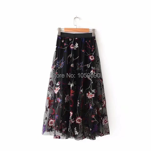 2bdb1c28f2 WISHBOP NEW 2018 Fashion Black Tulle Flowers Embroidery Midi Skirt With  LIning inside Elastic Waistband Mesh Skirt-in Skirts from Women's Clothing  on ...