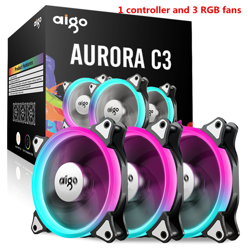 Aigo C3 C5 fan PC Computer Case Cooler Cooling fan LED 120 mm fans mute RGB Case fans 80 80 25 mm personal computer case cooling fan dc 12v 2200rpm 45cm fan cable pc case cooler fans computer fans vca81