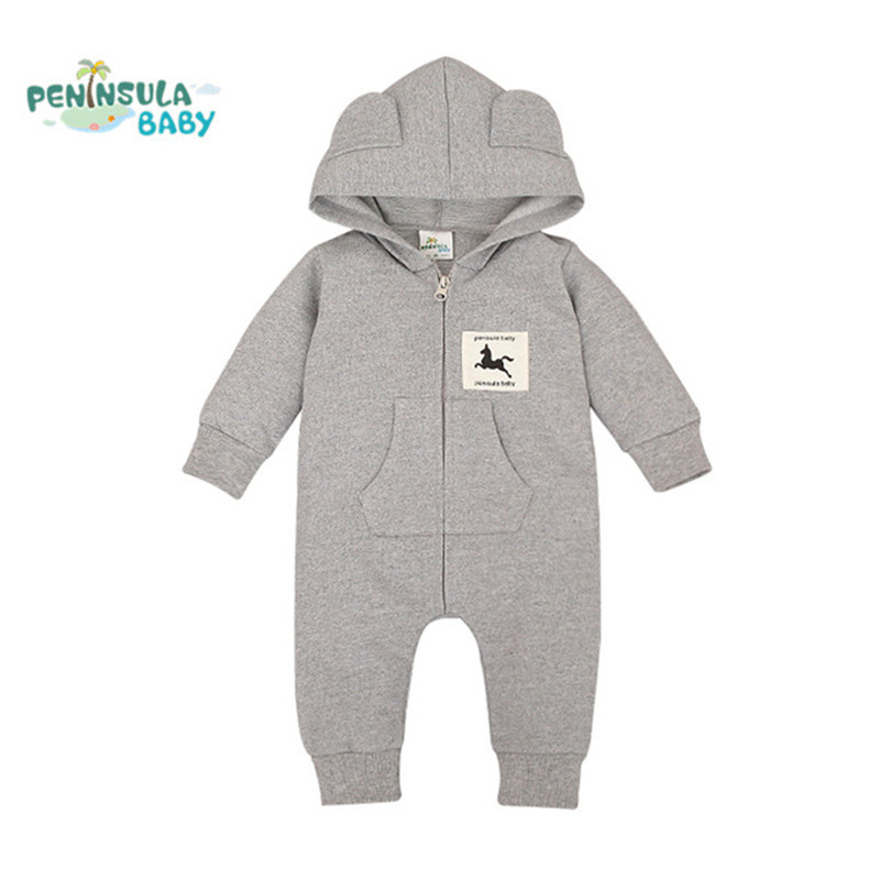 Autumn Hooded Baby Rompers Kids Clothes Cute Horse Cotton Long Sleeve Jumpsuits Newborn Infant Unisex Costume Toddler Outwear new 2016 autumn winter kids jumpsuits newborn baby clothes infant hooded cotton rompers baby boys striped monkey coveralls
