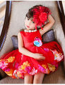 2016 Baby Girls Colorful Flower Dress Sleeveless Bow Princess Ball Gown Wedding Bridesmaid Party Dresses