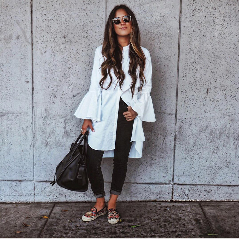 New Fashion Women White Flare Long Sleeve Shirt Summer Spring Fashion O-Neck Straight Elegant Woman Bloues Casual Clothing Tops