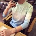 2017 Mens Tops Tees 95% algodón nueva Camiseta Coreana de los hombres casuales de manga larga T-shirt ropa masculina más tamaño 5xl