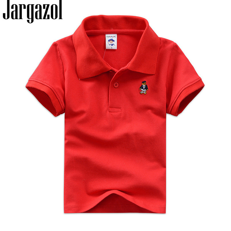 Jargazol Kids Solid Polo Shirt Bear Embroidery Boys Shirts 2 Years 16years Cotton Baby Kids Clothes Teenagers Sports Polo Shirts