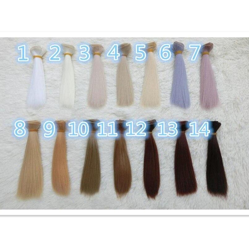 30 Pcs/Lot Synthetic Doll Hair Bjd Hair 25CM*100CM Black Brown Khaki White Grey Color Long Straight Wig Hair for 1/3 1/4 BJD Diy