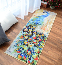 Creative Peacock Rug Oil Painting Art Carpet Bed Kitchen Floor Mat Non Slip Cushion