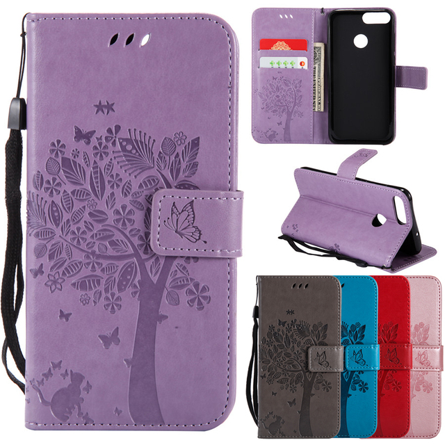 Leather Case on for Pouzdro Huawei Honor 9 Lite Case 3D Tree Cat Case for Honor 9 Lite Wallet Flip Magnetic Stand Phone Case