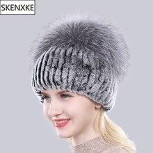 Bonnet en fourrure de renard en argent naturel, chapeaux pour femmes, bonnet en vraie fourrure de Rex, tricoté, à la mode, nouveauté