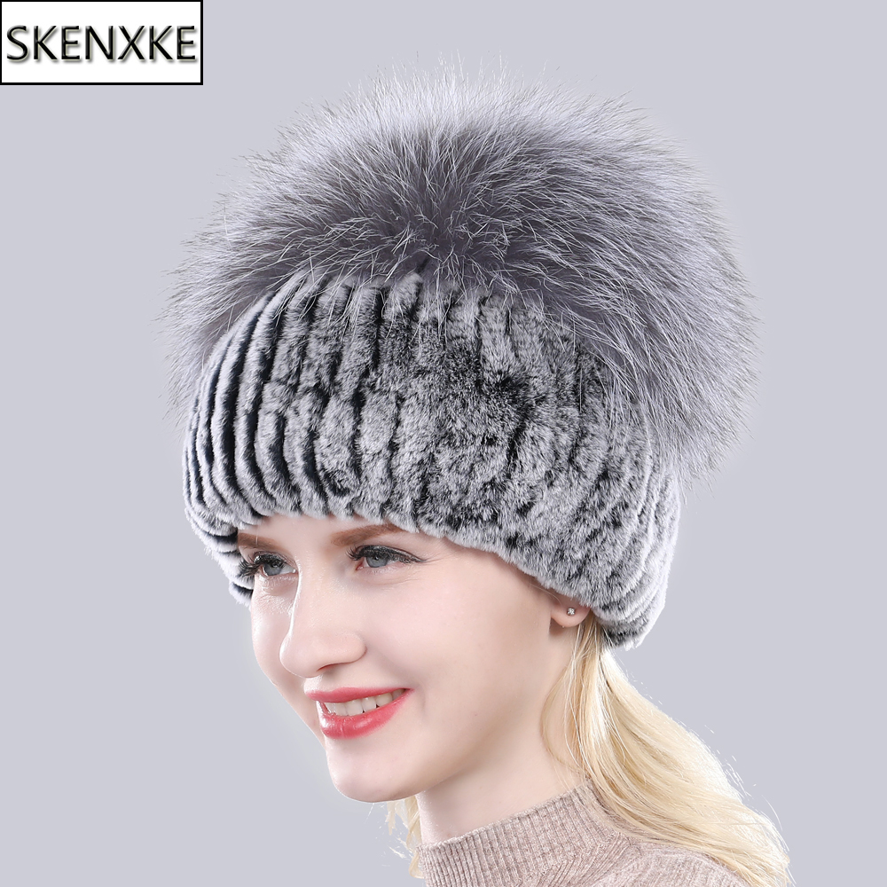 New Arrival Women 100% Natural Fluffy Silver Fox Fur   Beanies   Hats Lady Winter Knit Real Rex Rabbit Fur Hat Fashion Real Fur Caps