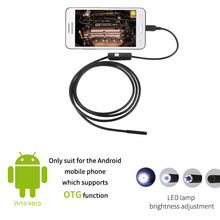 Waterproof USB Inspection Camera Snake Endoscope 7mm Mini Borescope 6 LED 1M Tube Slim