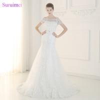 Kostenloser versand Brautkleider Wulstige Kristalle mit Kurzen Puffärmeln Side-glänzendes pailletten Spitze Meerjungfrau Braut Kleid