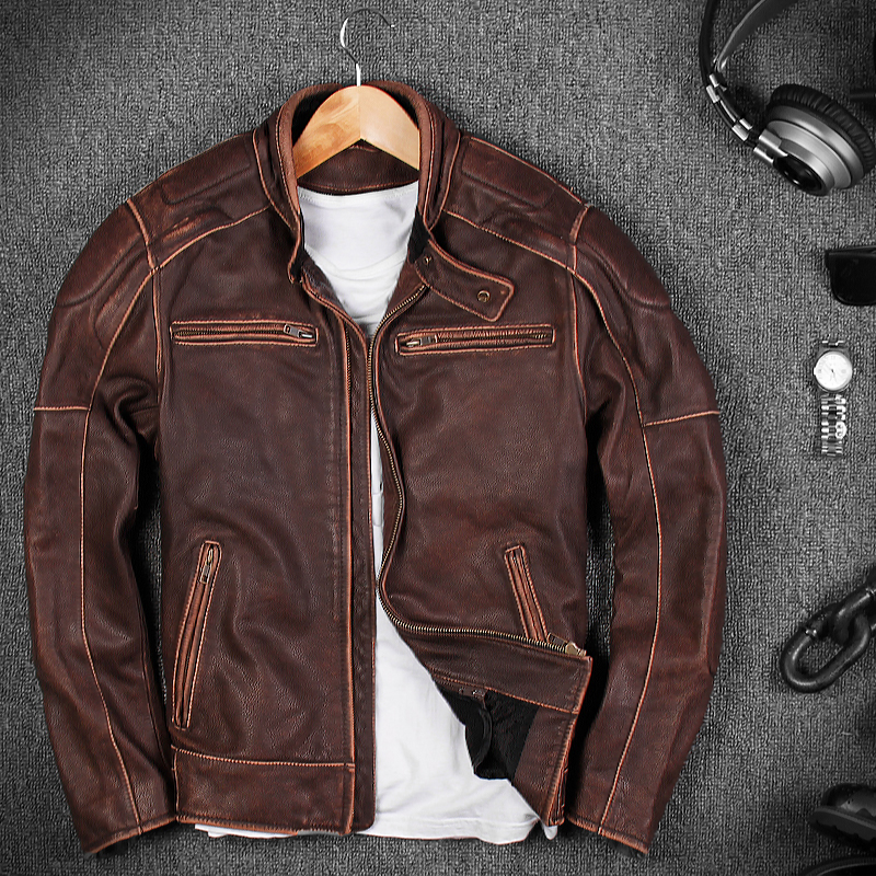 2018 Retro Classic Brown Males Real Bike Leather-based Jacket Plus Dimension Xxxl Thick Cowhide Slim Match Using Coat Free Delivery