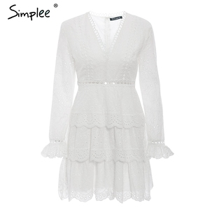 Image 5 - Simplee Hollow out cotton embroidery ruffled women dress A line v neck long sleeve female sexy dress Elegant party midi dress