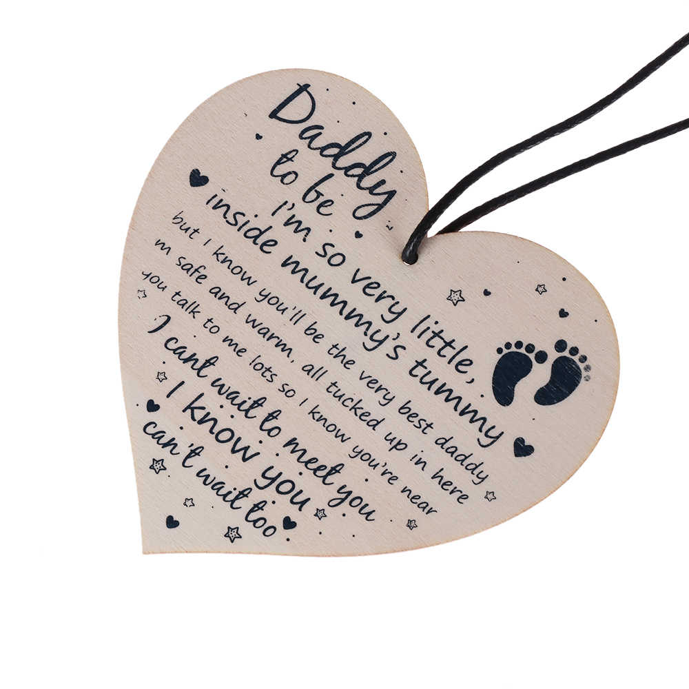 1PC Daddy To Be Gifts Baby Shower Dad Friend Gift Heart Party Decoration From Bump Wood Crafts Hanging Plaque