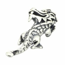 Solid 925 Sterling Silver Happy Dragon Pendant 3.6mm Hole Dangle Charm Fits European Brand 3.0mm Bracelet & Necklace Jewelry