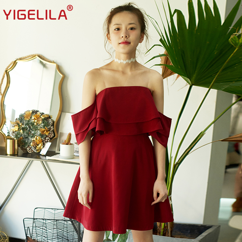 Femmes 63326 Wine Cou Spaghetti Slash Mince De Mini Sexy Printemps Empire Yigelila Ruches Mode Rouge Robe Strap 2019 Encolure HqwxfHnEUT