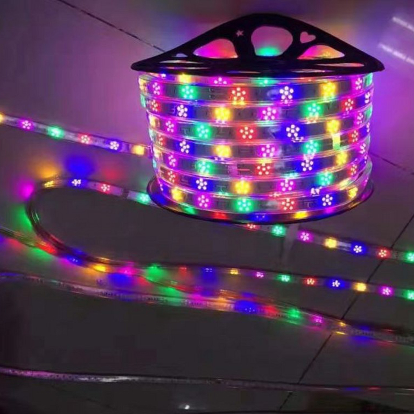 Waterproof Horse Race LED Strip 220V 2835 120Leds/m Plum Xmas Decorative Rope Light Red + Green + Blue + Yellow + Purple 1-100m