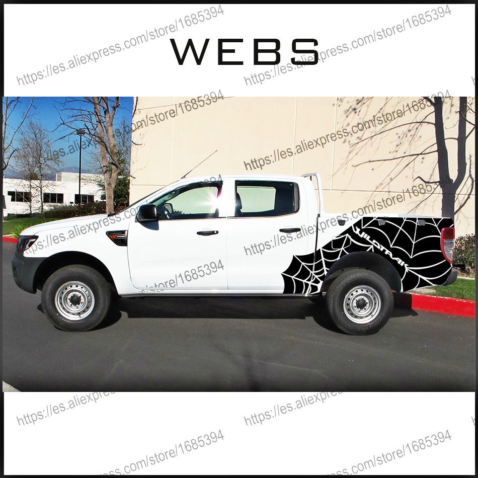free shipping 2 PC webs spider 4X4 wildtrack body rear tail side stripe graphic vinyl for 4x4 Ford ranger 2012 2013 2014 2015 4pc mudslinger body rear tail side graphic vinyl decals for ford ranger 2012 2013 2014 2015 2016 sticker