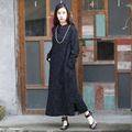 Women Cotton Linen Qipao Dresses Chinese Style Black Print Split Dress manual buttons cheongsam Dress