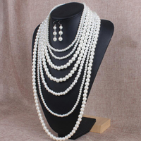 Retro Multilayer Strand Chain White Faux Pearl Necklace Handmade Beads Chains Long Women Pendants Necklaces For