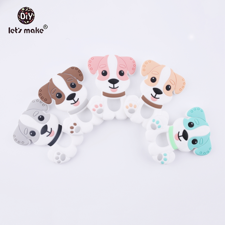 Let's Make 5pc Pink DIY Nursing Pendant Teething Necklace Making Silicone Cartoon Dog Charms Baby Teether Silicone Toys Teethers