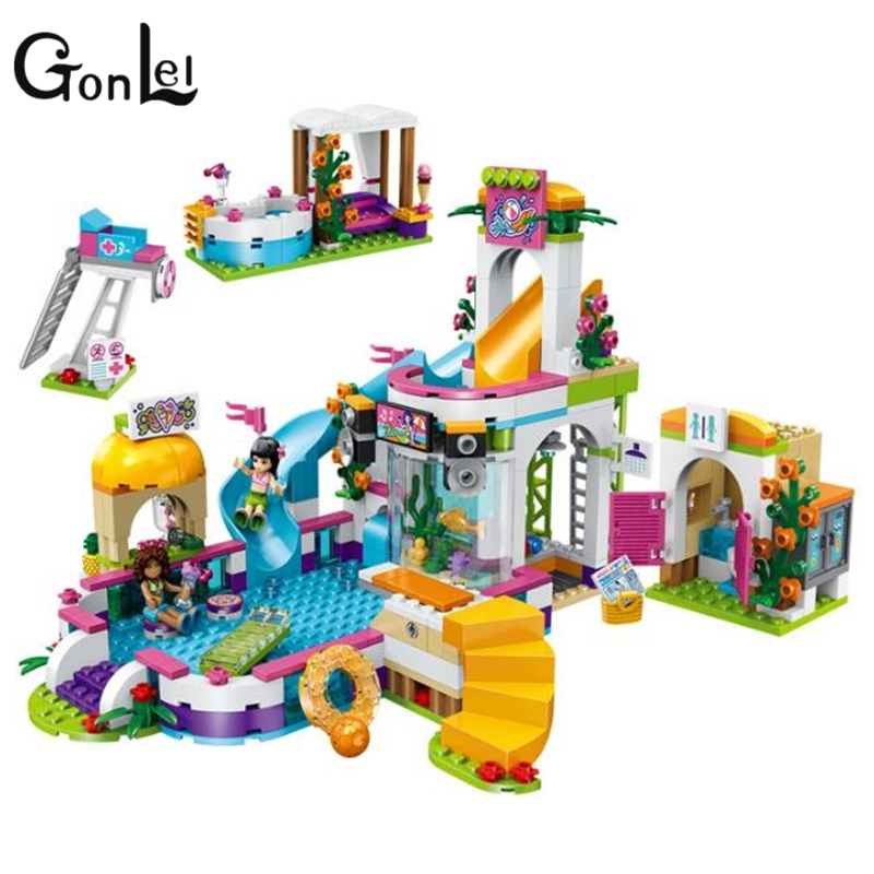 GonLeI 37029 592pcs Girl Friend Princess Heartlake Summer Pool Lele Building Block Compatible legoings 41313 Brick Toy bela 10611 friend princess heartlake summer pool model building blocks bricks girl educational toys for children gifts 41313