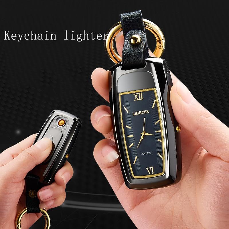 2019 china yiwu yanzhen keychain watch outdoor usb lighter with light gift wholesale