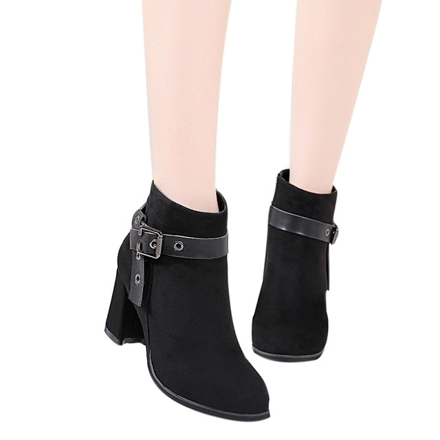 YOUYEDIAN Moda Kadın Çizmeler Yuvarlak Kafa Kalın Alt Martin Çizmeler Klasik yarım çizmeler zapatos de mujer botines # A25